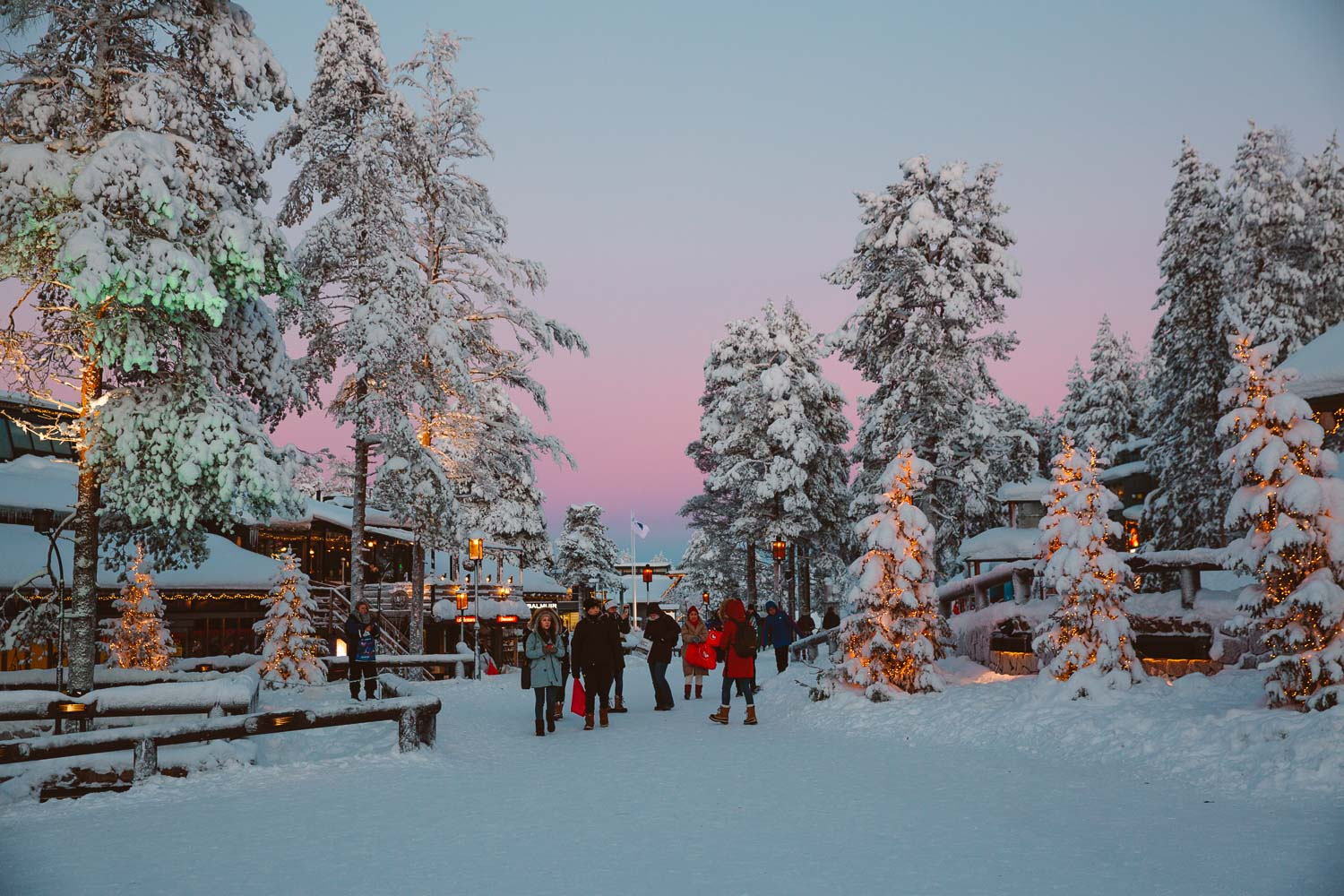 Santa Claus Village at sunset
