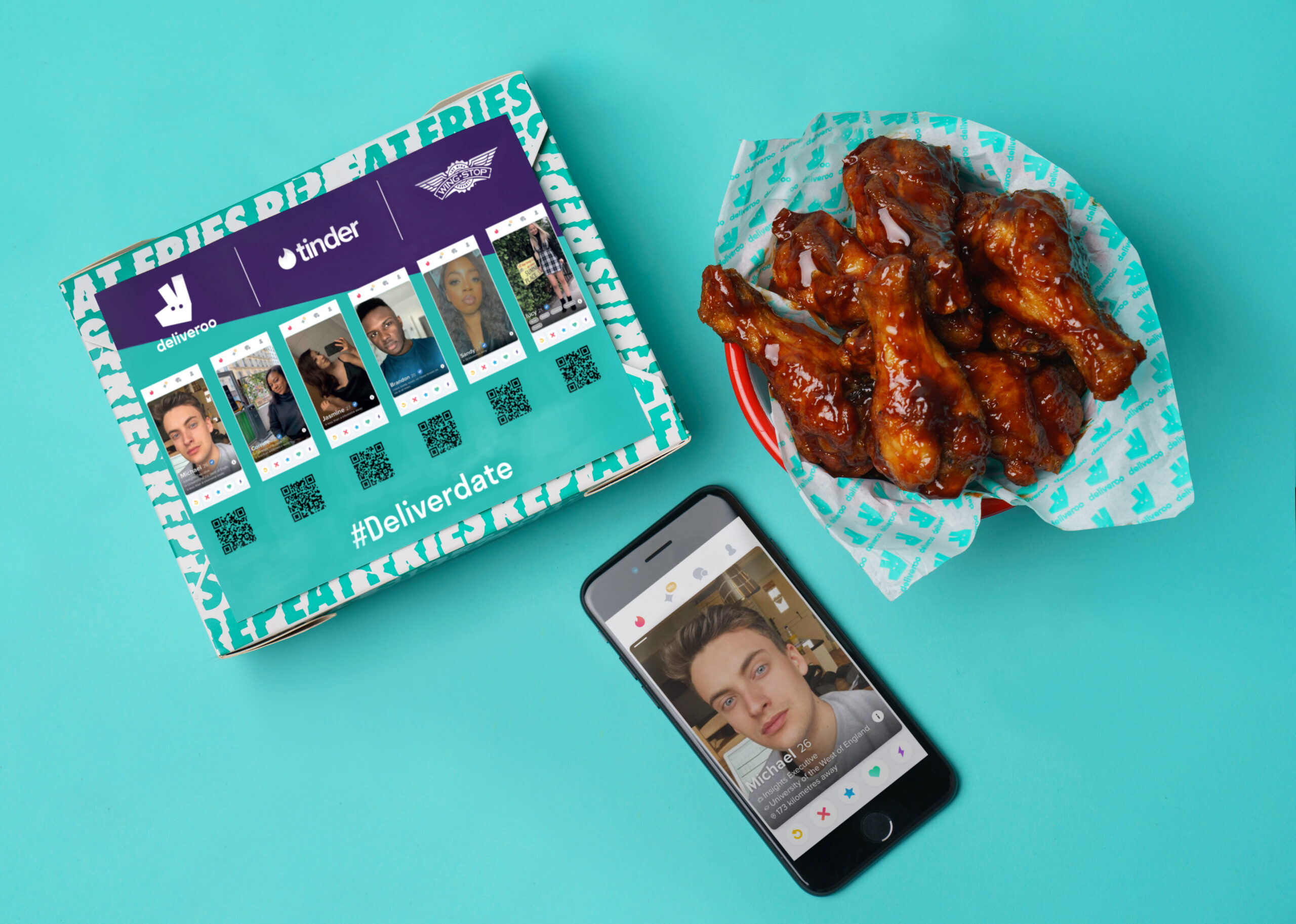 *** FREE FOR EDITORIAL USE *** Love at 'first bite' for single Brits this Valentine's as Deliveroo, Tinder and Wingstop partner to launch 'DeliverDate' service to wingman the nation.