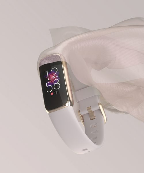 Product laydown photo of Fitbit Luxe.